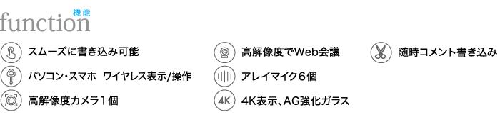 スムーズに書き込み、高解像度でWeb会議、高解像度カメラ1個、4K表示AG強化ガラス、随時コメント書き込み、パソコン・スマホワイヤレス表示/操作