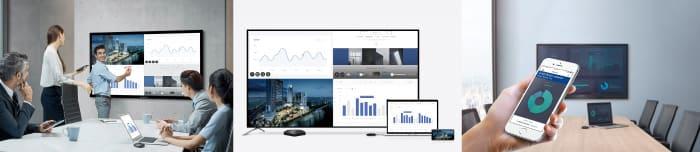 MirroringBOX。オフィスでの会議、スマートフォンノートパソコンのミラリーングイメージ